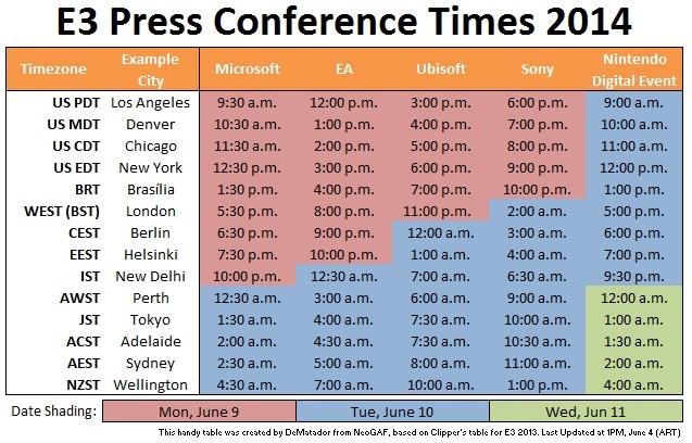 E3 2014 Schedule